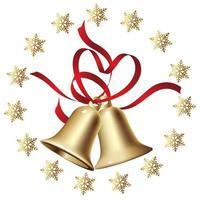 Goldweihnachtsglocken mit einem Kreisschneeflockerahmen. vektor