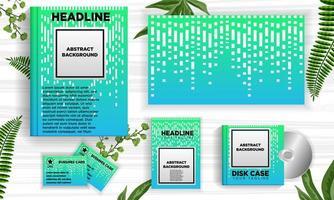 Abstrakter grüner und blauer Designfahnen-Netzschablonensatz