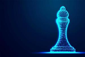 Chess Queen Drahtgitter Polygon blaue Rahmenstruktur vektor