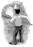 Graverad bagare som drar bröd från en tegelugn