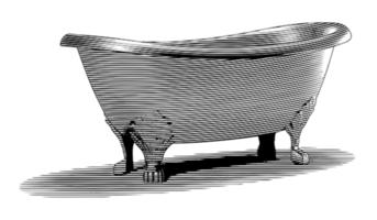Graverad badkar vektor