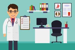 Doktor, der Dokumente überprüft