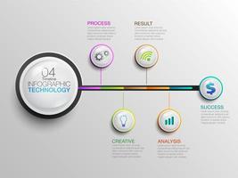 Infografik Business Technology Icons Zeitleiste vektor