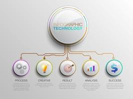 Infografik-Technologie-Diagramm mit Symbolen vektor