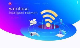 Trådlös intelligent nätverksgrafik vektor