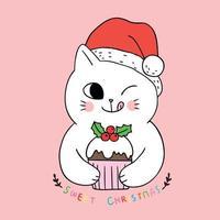 Nette Weihnachtskatze der Karikatur, die kleinen Kuchen isst vektor
