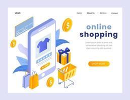 Isometriskt begrepp av landningssidan för online shopping vektor