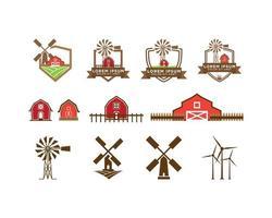 Roter Scheunen- und Windmühlenlogosatz