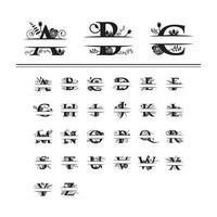 Dekorativt blommig typsnitt för delad bokstav för monogram