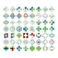 Mega-samling med medicinska kors vektor