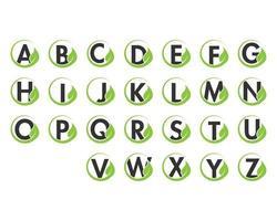 Alphabetinitiale und Blattlogo-Ikonensatz