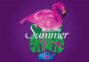 Välkommen sommarbild med flamingo och löv