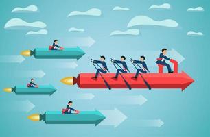 Business-Teamarbeit am Rudern Pfeil am Himmel Erfolgsziel vektor