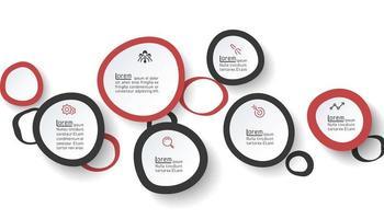 Sex handtag cirklar infographics. vektor