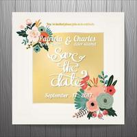 Bröllopinbjudan med guld- textask och blommor