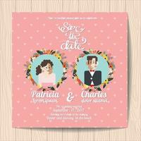 Bröllopinbjudan med tecknad brud- och blommablomningar på rosa bakgrund