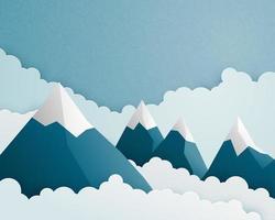 Berg- und Wolkenszene im Papierschnittstil vektor