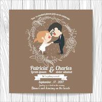 Bröllopsinbjudan med tecknade bruden och brudgummen som rymmer händer