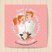 Bröllopinbjudan med blommor och tecknad brud och brudgum vektor