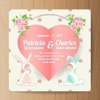 Hochzeitseinladung mit Cartoon Kaninchen Braut und Bräutigam und Papier Herzen