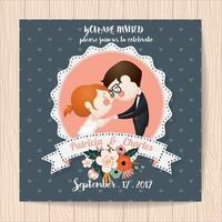 Bröllopinbjudan med blommor och tecknad brud och brudgum