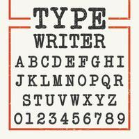 Type Writer Alphabet-Schriftvorlage vektor