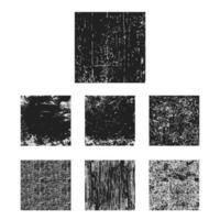 Uppsättning av svart grungetexturfyrkant vektor