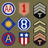 Armé patche typografi set