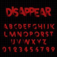Försvinner alfabetet typsnitt mall. vektor