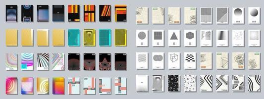 Uppsättning av trendiga olika geometriska omslag broschyrer vektor