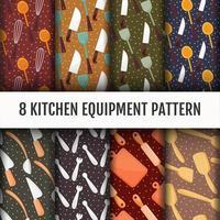 Nahtloser Küchenwerkzeug-Mustersatz vektor