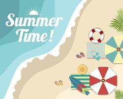 Schöne Sommerstrandfahnen- und -plakatkarte