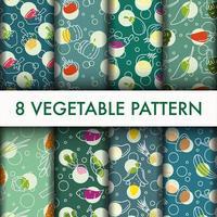 Sömlös vegetabilisk mönster cool uppsättning.