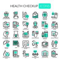Uppsättning av Health Checkup tunn linje och pixel perfekta ikoner för alla webb- och app-projekt.