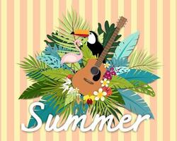 Vackert sommarbaner och tropiskt kort för affisch