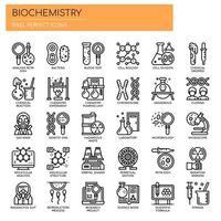 Biokemi-element, tunna linjer och perfekta ikoner för pixlar vektor