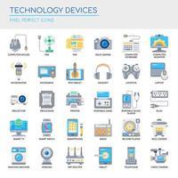 Uppsättning av tekniska enheter tunn linje och pixel perfekta ikoner för alla webb- och app-projekt.