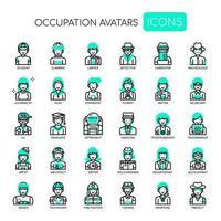 Berufs-Avatare, dünne Linie und Pixel-perfekte Ikonen vektor