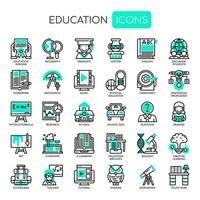 Utbildning tunn linje och pixel perfekta ikoner