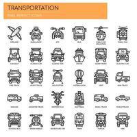 Transport, dünne Linie und Pixel Perfect Icons