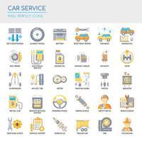 Uppsättning av perfekta ikoner för Car Service tunn linje och pixlar för alla webb- och appprojekt. vektor