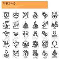 Bröllopsbeståndsdelar, tunn linje och perfekta ikoner för pixlar vektor