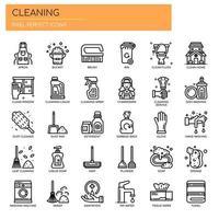 Reinigungselemente, dünne Linie und Pixel Perfect Icons vektor