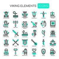 Viking Elements Thin Line und Pixel Perfect Icons vektor