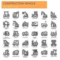 Baufahrzeug dünne Linie und Pixel perfekte Symbole vektor