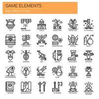 Spielelemente, dünne Linie und Pixel Perfect Icons