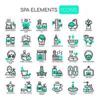 Spa-Elemente dünne Linie und Pixel perfekte Symbole vektor
