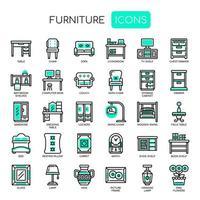 Möbelelement, tunn linje och perfekta ikoner för pixel vektor