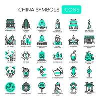 Kinasymboler, tunna linjer och perfekta ikoner för pixlar