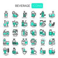 Getränke, dünne Linie und Pixel perfekte Symbole vektor